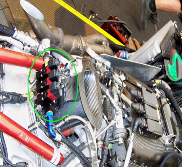 Un dettaglio di una Porsche Gt3 che monta elettrovalvole valvole a solenoide FIM perfette per tutti i veicoli commerciali e per tutte le automobili