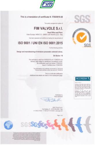 certificato ISO 9001 2015